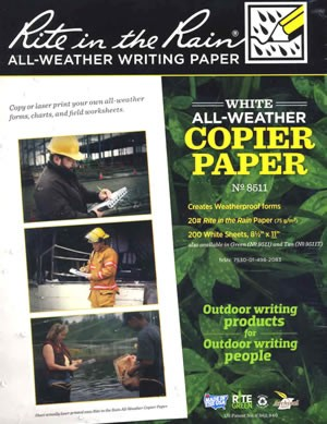 Rite in the Rain water proof paper
